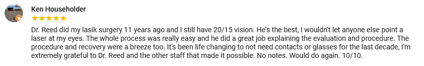 A great review for Griffin & Reed Eye Care in Sacramento and Roseville, CA